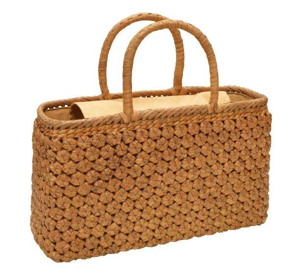 山葡萄 籠バッグ (内布・かぶせ付) 六角花編み 横長 浴衣 カゴバッグ かごバック カゴバック やまぶどう