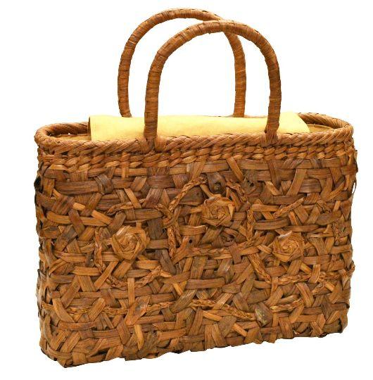 山葡萄 籠バッグ (内布・かぶせ付) 流れ花編み 浴衣 カゴバッグ かごバック カゴバック やまぶどう