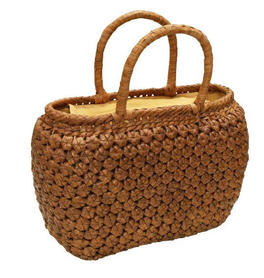 山葡萄 籠バッグ L (内布・かぶせ付) 六角花編み 丸型 浴衣 カゴバッグ かごバック カゴバック やまぶどう