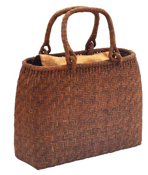 山葡萄 籠バッグ (内布・かぶせ付) 一番皮3ミリ 網代編み 丸口 浴衣 カゴバッグ かごバック カゴバック やまぶどう