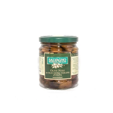 パスタ アクアパッツァ サラダに合います 激安 サルバーニョ 黒オリーブの オイル漬け イタリア 種無し 180g 無添加 希望者のみラッピング無料