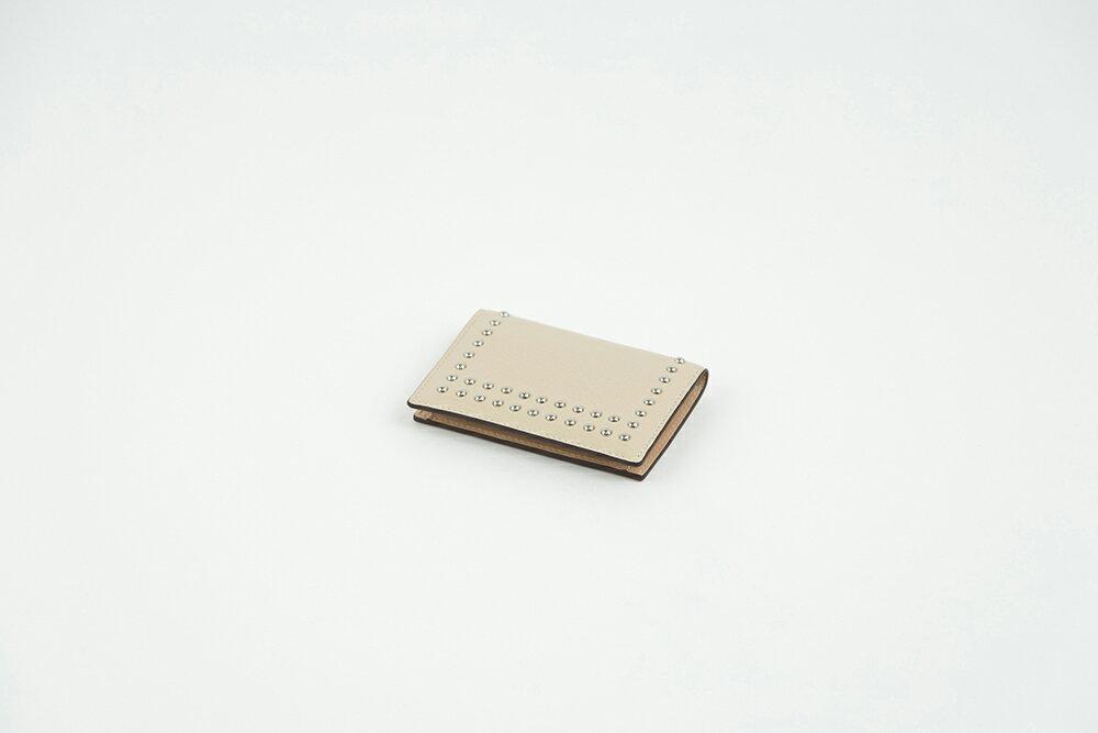 J&M Davidson VISIT CARD HOLDER /STUDS ジェイアンドエムデビッドソン メンズ レディース レザー 本革 ウォレット 財布 ブラック ホワイト ストーン
