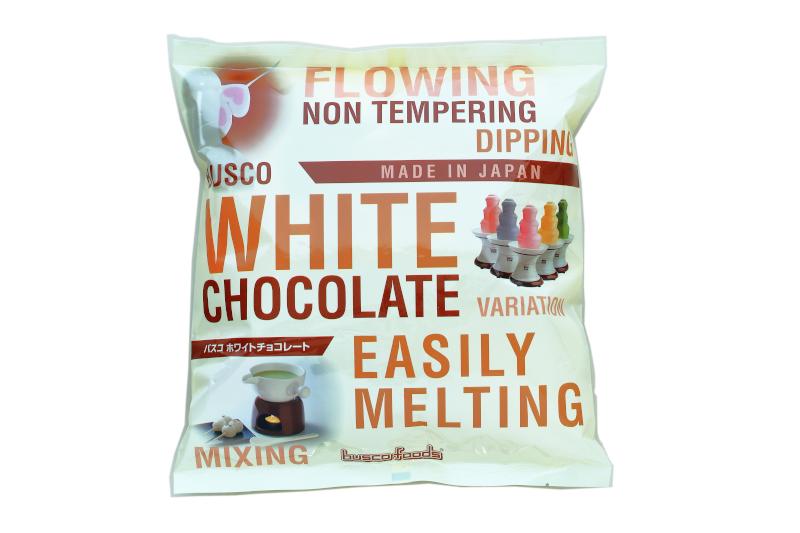 ホワイトチョコレート独特のバニラ風味と滑らかな口当たりのバスコホワイトチョコレートです 新作続 溶解方法も簡単 セール商品 チョコレートファウンテン フォンデュ用チョコレート バスコホワイトチョコレート 1袋:1kg 国産