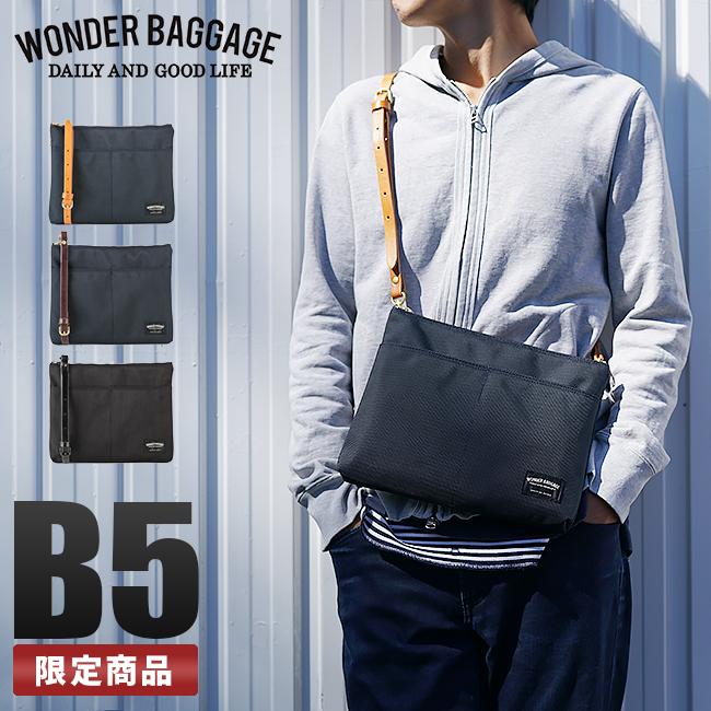 【最大+7倍|9/10限定】ワンダーバゲージ サコッシュ 本革 バリスティックナイロン B5 グッドマンズ WONDER BAGGAGE zwb-001