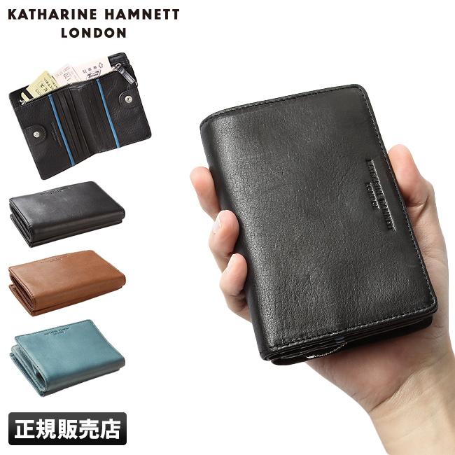 【カードで+6倍 8/5限定】キャサリンハムネット 二つ折り財布 メンズ 本革 ラウンド KATHARINE HAMNETT 490-57004