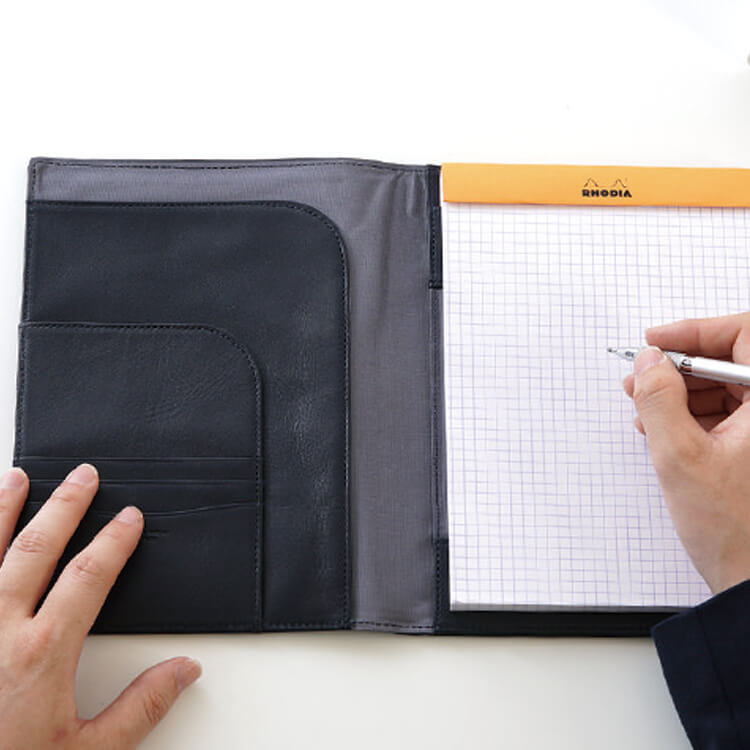 Name-friendly put ◆ No.16 size RHODIA and rodia cover black Navy Brown related words note No16 cover case presents gift name imprinted business cowhide leather leather leather leather birthday father men boyfriend women ladies