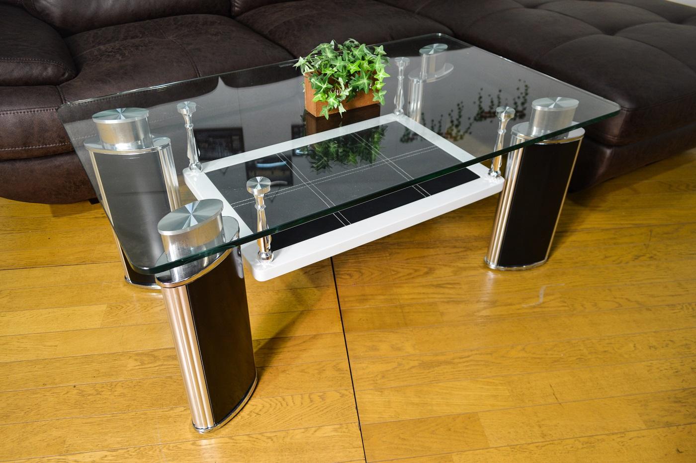 【送料無料】 100 センターテーブル ミラ 完成品 ホワイト ガラス テーブル ブラック 収納 シック 北欧 モダン リビング 応接 ローテーブル