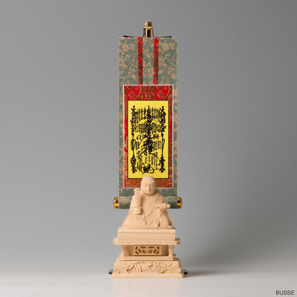 仏像 出色 日蓮上人像 ヒノキ製 1.5寸 豆サイズ 掛軸 日蓮宗 曼荼羅セット 国内即発送