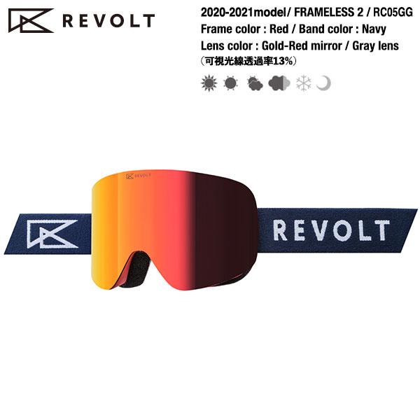 2 lens REVOLT 2020-2021model スノーボードゴーグル mirror/Gray Gold(red) FRAMELESS RC05GG