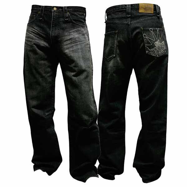 形状記憶シワ加工のデニムパンツ Vintage Black one by one clothing
