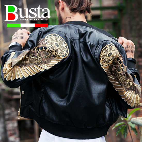 ライダースジャケット メンズ オラオラ系 刺繍 ウィング 羽 ビッグプリント ミリタリージャケット MA-1 MA1 メンズファッション オラオラファッション 悪羅悪羅ファッション ストリート系ファッション バスター ブラック 黒 ワイン レッド バイカー お兄系