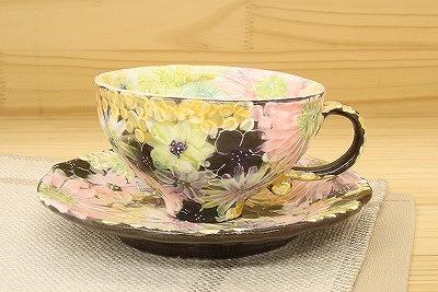 平安間取花 コーヒー碗皿