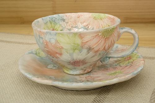 彩化粧花 コーヒー碗皿