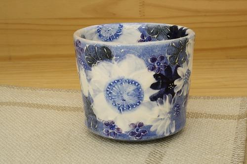藍彩白絵花 姫碗