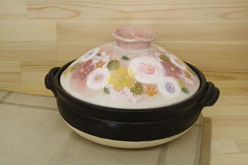 釉彩花化粧 9号土鍋