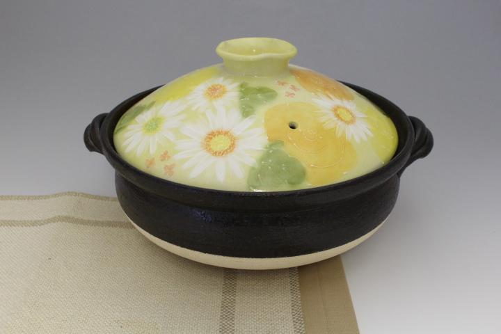 黄彩色絵花 IH9号土鍋