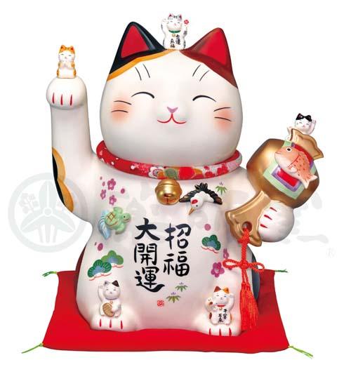彩絵 招福大開運招き猫(ちりめん首輪付・11.5号)(貯金箱)7501