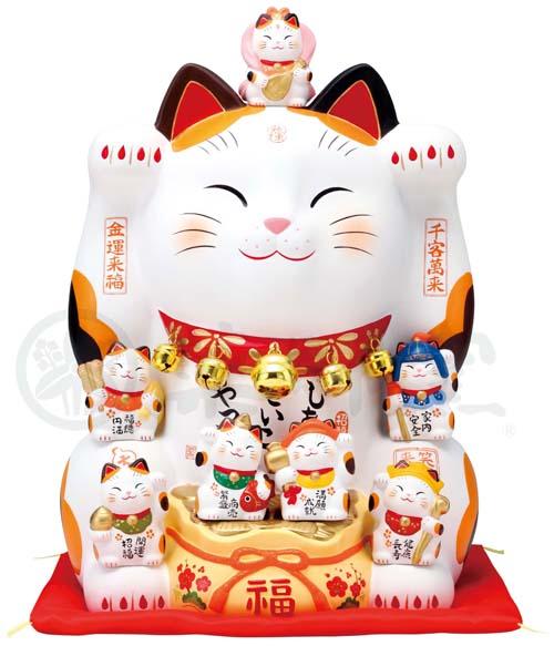 錦彩 七福神招き猫(12号)7575