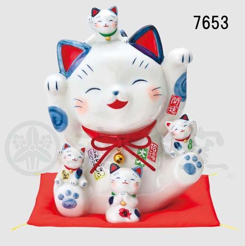 染錦 福づくし招き猫(8.5号)(貯金箱)7653