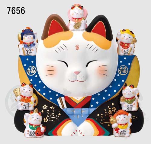 錦彩 七福神福助招き猫(16号)7656