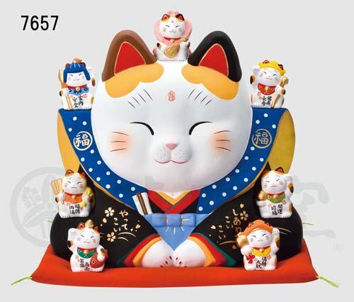 錦彩 七福神福助招き猫(10号)7657