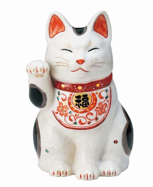 陶彩 万福唐草招き猫(右手上げ・大)7439