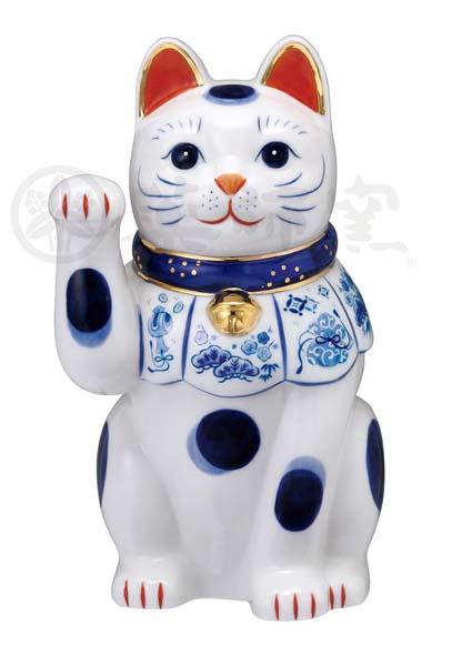 染錦 福尽し招き猫(右手上げ・7号)7682