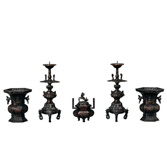 最高級 仏具セット 六角 菖蒲型 色付 5点セット 3.0寸~4.5寸[送料 ...