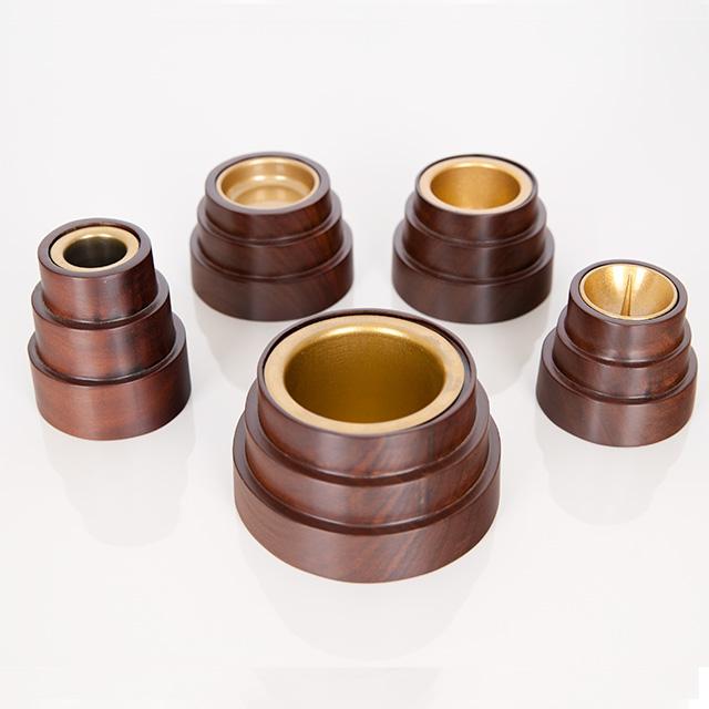 仏具セット 寄木細工 丸型 クルミ 5点セット 2.5寸
