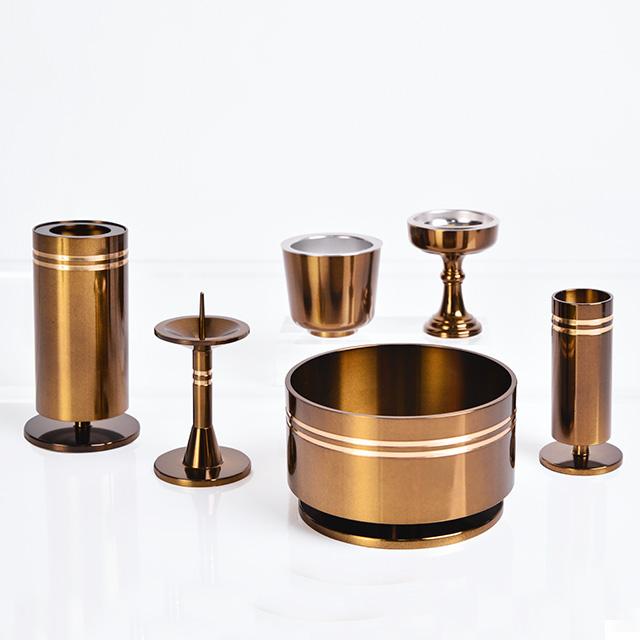 仏具セット 銅器 つばさ セピア色 6点セット 3.0寸