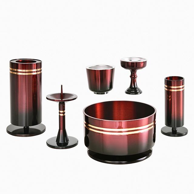 【期間限定ポイント10倍】仏具セット 銅器 つばさ ワイン色 6点セット 3.0寸