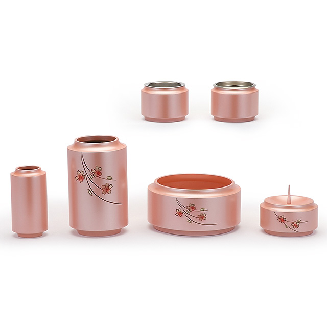 真鍮製 昴 桜彫金 薄桜色 6点セット