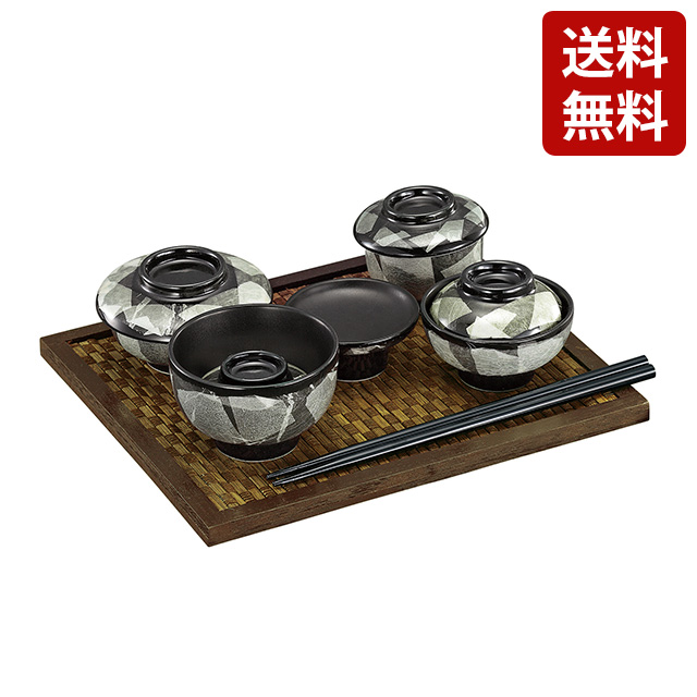 日本製 九谷焼 仏膳 平竹仏膳敷 銀彩 白磁 茶