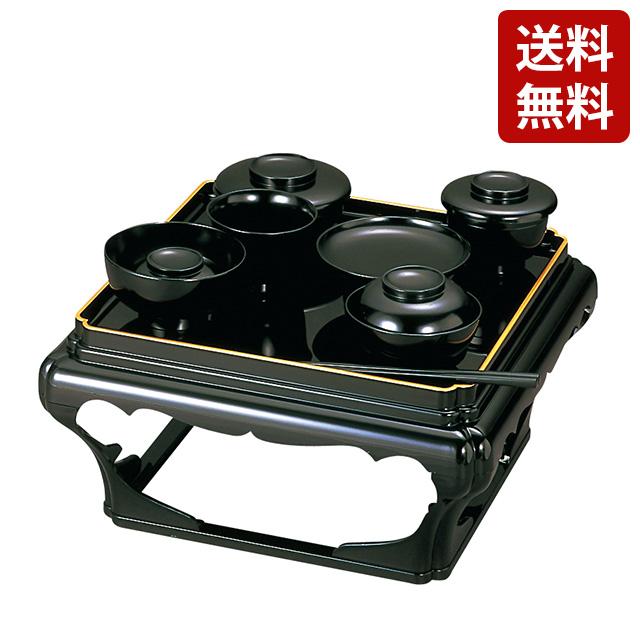 日本製 PC 掛盤膳 黒 フチ金 椀フチ金なし 1尺3寸