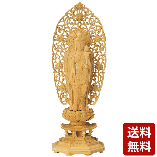 仏像 総柘植 八角台座 舟型唐草光背 聖観音 3.5寸~5.0寸