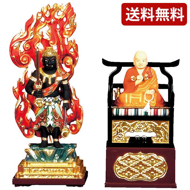 仏像 極上彩色 不動明王4.0寸・弘法大師 2.0寸