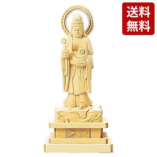 【期間限定ポイント10倍】仏像 総白木 子安鬼子母神 3.5寸~5.0寸