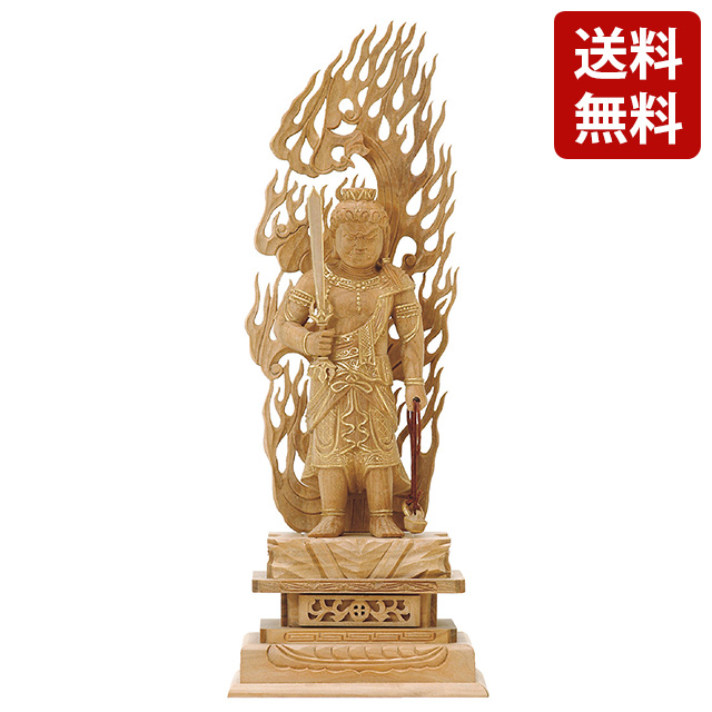 仏像 総白檀 不動明王 金泥書 3.5寸~5.0寸