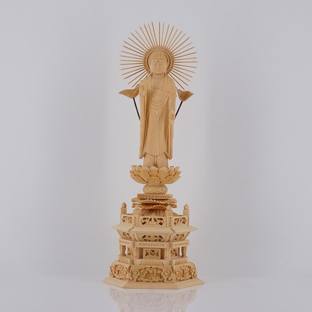 定番から日本未入荷 総白木彫六角台座 現金特価 東 高41.6×巾16.2×奥12.0cm 6寸