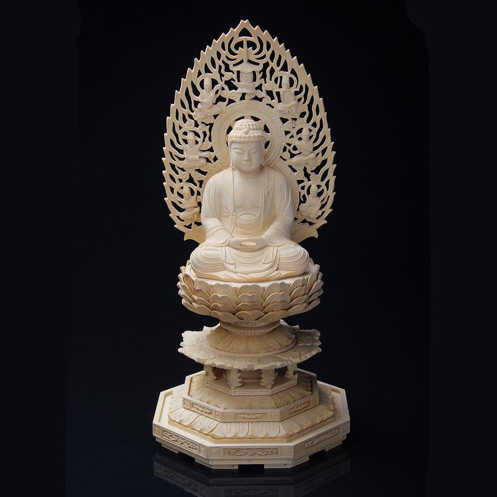 禅宗 仏像 今季も再入荷 本尊 釈迦如来 100%品質保証 曹洞宗 臨済宗 飛天光背 高さ25.0cm×巾12.0cm×奥行11.5cm 座釈迦 黄檗宗 2.5寸 総ツゲ八角台座