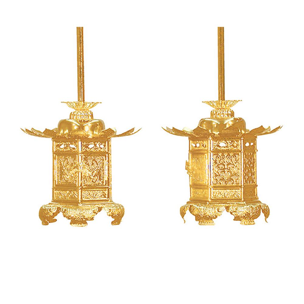 お買い物マラソンポイント10倍六角神前猫足 真鍮吊灯篭(西)コード無 1.8寸