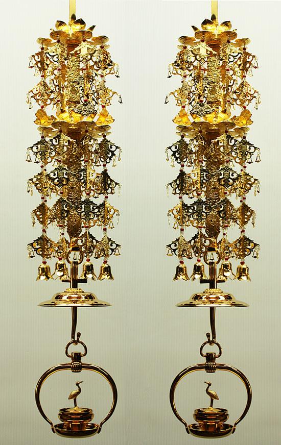真宗大谷派(東) 仏具 輪灯瓔珞2重6段 (平竿) + 本山輪灯 吊巾3.0寸 輪灯