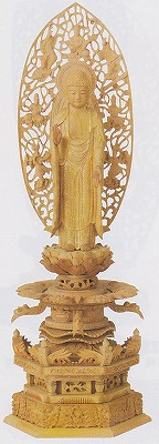 【浄土宗】 仏像 白檀 六角台座ケマン付 舟立弥陀 飛天光背 金泥書 6.0寸