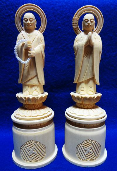 【浄土宗】 仏像 総白木 両大師 (法然上人 善導大師) 対 3.0寸