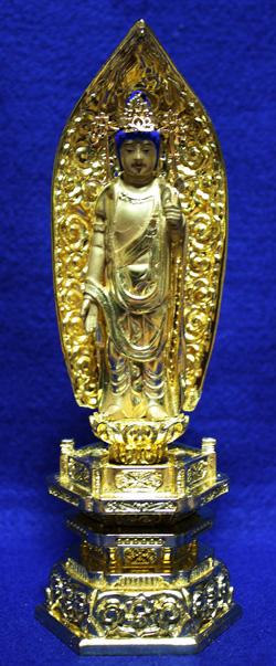 【仏像】 純金中七 聖観音 肌粉 3.0寸