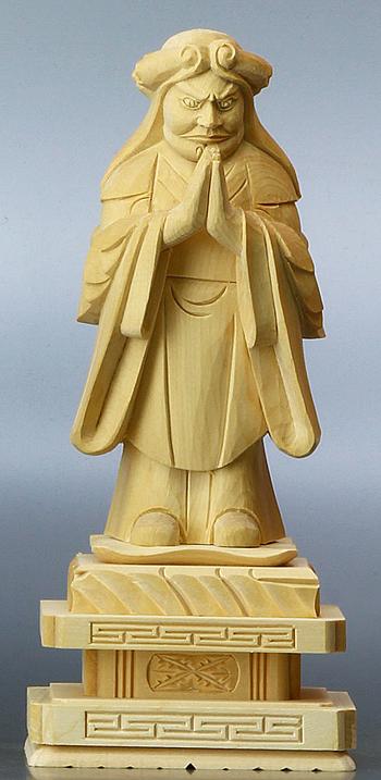 【 日蓮宗 仏像 】 総白木 中山鬼子母神 3.5寸