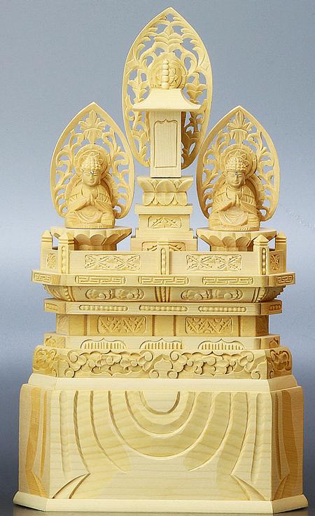 仏像 純白木 三宝尊 日蓮宗 0.8寸