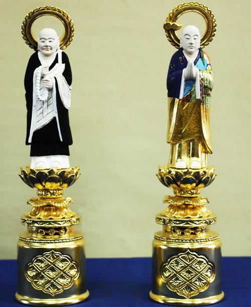 【浄土宗】 仏像 総木製 純金箔 京型彩色 両大師 (法然上人 善導大師) 吹蓮華 3.5寸