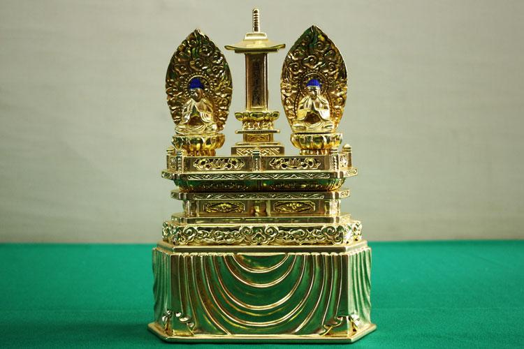 【日蓮宗】 仏像 純金箔 三宝尊 0.8寸