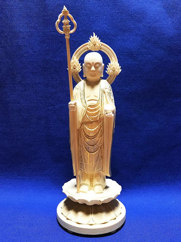 【仏像】 総柘植 地蔵菩薩 丸台 輪光背 3.5寸